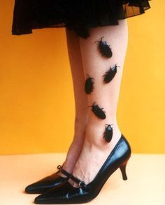 Crawling bugs on Tights - Glue bugs onto your tights to create this creepy crawly halloween costume!. #halloween #costumes #women #halloweencostumesforwomen
