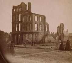 "More than 25 percent of buildings in Richmond, Virginia, were destroyed by fires set by retreating Confederates in April 1865. Above, two women in the ""burnt district."" Image courtesy of the Library of Congress, Washington D. C."