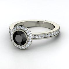 Round Black Diamond Platinum Ring