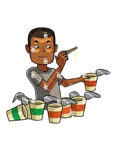 A Black Man Eating Noodles:  #african #african-american #american #asian #ate #bad #black #body #cartoon #character #chinese #chopsticks #chopsticks #clipart #comfort #containers #convenience #convenient #cooked #cuisine #darryl #delivered #delivery #diet #dish #drawing #eat #eatable #eaten #eating #eats #fast #fat #fats #fed #food #gastronomy #graphic #greedily #greedy #human #hungry...