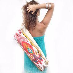 Yoga Tote Bag Yoga Mat Carrier Sports Bag Ikat by HandmadeByLN