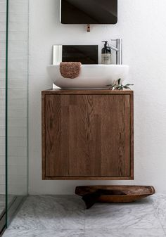 simple bathroom vanity made from walnut— Tiny Bathrooms, Upstairs Bathrooms, Laundry In Bathroom, Bathroom Renos, Simple Bathroom, Beautiful Bathrooms, Bathroom Faucets, Bathroom Storage, Bathroom Ideas