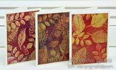 StampingMathilda with Gelli printing plates  Gold Embossing on Gelli Prints -  A while ago I made a batch of gelli prints.  Here are 3 of them, used to make some cards for all occasions.