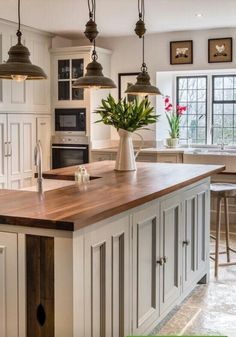 Love The Wood Counter And Cream Cabinet Island Farmhouse Cabinets, Farmhouse  Kitchen Lighting, Farmhouse