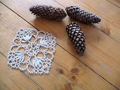 Handmade tatting doily ivory - wedding Lace Coasters  - wedding decor - home decor - tatting shuttle