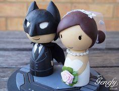 Cute Superhero Wedding Cake Topper Bride And Groom Batman