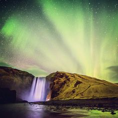 """C4 director @timkemple just landed in Iceland for a creative passion project with @smugmug @blackdiamond....and the timing couldn't have been better! """"Day 1: The Northern Lights over Skogafoss -- not far from Vik, Iceland. One of the most beautiful sights I've ever seen and we're just getting started."""""""