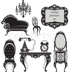 Vector of Set of antique furniture - isolated black silhouettes