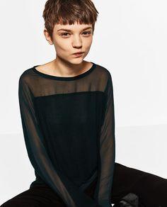 Imagem 4 de T-SHIRT COMBINADA TRANSPARÊNCIA da Zara