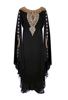 This elegant Caftan/Kaftan dress Black Long Kaftan maxi dress with gold Crystal embellished around the neck and Sleeve. Dazzling dress, which will catch an audience. Black Polyester fabric with hand work beading. Please note that it comes in one size only, to fit all. It has a tie belt inside the garment so it's adjustable to give you a more fitted look  One size fits all. From S to XXXXL sizes. Length 148 cm Dry Clean Or Hand Wash   A little color shading maybe cause by the light differ...
