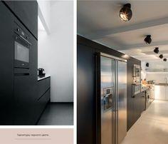 Интерьер кухни в стиле хайтек черного цвета