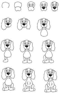 How to draw a dog :: drawing lessons for kids Drawing Cartoon Characters, Cartoon Sketches, Animal Sketches, Cartoon Dog, Character Drawing, Animal Drawings, Drawing Cartoons, Character Design, Drawing Lessons For Kids