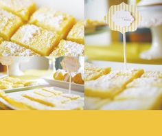 Yum--lemon bars and cute lemon sign