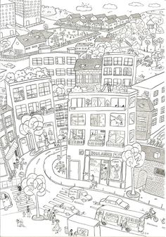 city coloring pages high resolution | Free coloring pages for kids
