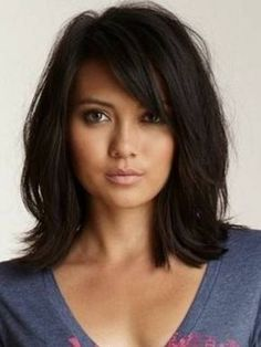 Loose Messy Lob Medium Wave Synthetic Hair With Bangs Capless Wigs 14 Inches - Long bob hairstyles - Haare und Make-up Bob Hairstyles, Straight Hairstyles, Celebrity Hairstyles, Pretty Hairstyles, Black Hairstyles, Brunette Hairstyles, Feathered Hairstyles, Ladies Hairstyles, Wedge Hairstyles