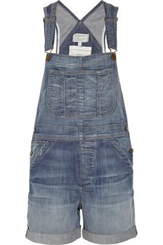 The Shortall Stretch-Denim Overalls by Current/Elliott