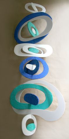 Recycle Foam Board Mobile in White Blue and Aqua Green by artomik