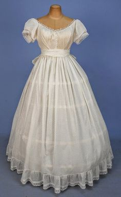 In the Swan's Shadow: DOTTED COTTON GOWN with SASH / STOLE, 1860's