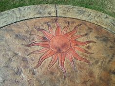 Flaming Sun Skin Concrete Stamp - you can purchase at www.calicoproducts.com Stamped Concrete Designs, New Deck, Paint Designs, Stencils, Outdoor Decor, Fun Stuff, Art Ideas, Stamps, Painting