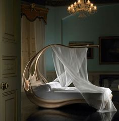 """Designed by Joseph Walsh for his """"Formations"""" collection, this beautiful elegant Enignum Canopy Bed has the ability to turn a bedroom into a royal chamber."""