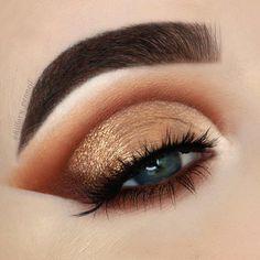 100 Stunning eye makeup ideas - beautiful eye shadow ,bronze/gold color highlight #eyeshadow #eyemakeup #makeup
