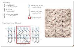 Crochet Men, Crochet Motifs, Crochet Stitches Patterns, Crochet Diagram, Crochet Chart, Stitch Patterns, Knitting Patterns, Scarf Crochet, Free Crochet