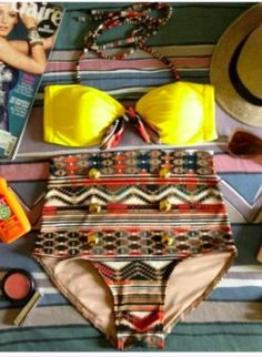 Yellow Boho High Waisted swimsuit. I want this so very much!!
