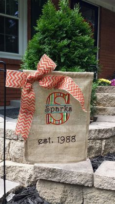 Personalized Burlap Decorative Garden Flag with Matching Burlap Bow on Etsy, $25.00