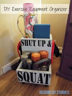 DIY Exercise Equipment Organizer for the Power Tool Challenge-Featured #PowerToolOrganization