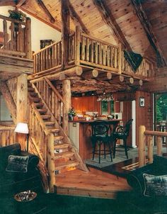Cool log cabin stairs.