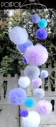 Pom Pom Mobile Huge Pom Pom Tulle Chandelier by PomPomMyWorl . Pom Pom Mobile Huge Pom Pom Tulle Chandelier by PomPomMyWorl . Tulle Crafts, Pom Pom Crafts, Diy And Crafts, Paper Crafts, Pom Pom Mobile, Hanging Mobile, Mobile Chandelier, Birthday Decorations, Wedding Decorations