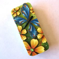 Blue Butterfly Slide Top Tin Sewing Needle Case by Claybykim