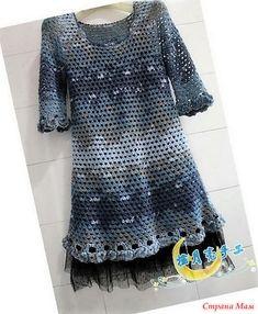 Это не сложное в исполнении платье смотрится очень красиво благодаря цвету секционной пряжи. Пряжа-секционная 300 гр. Крючок 5. http://bbs.bianzhirensheng.com/
