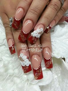 Red W Fabulous Nails, Perfect Nails, Gorgeous Nails, Pretty Nails, Xmas Nails, 3d Nails, Christmas Nails, Red Nail Designs, Pretty Nail Designs
