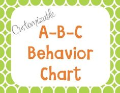 A.B.C. Behavior Chart by The Greenhouse Educators | Teachers Pay Teachers