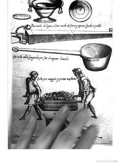 16th C Kitchen Utensils: Italy; from Opera di M. Bartolomeo Scappi: cuoco secreto de Papa Pio V (1570) Pity about the hand! I will try to find another copy of this image.