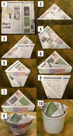 DIY recycled paper bin liner.