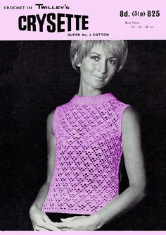 Your place to buy and sell all things handmade Knit Tops, Crochet Tops, Irish Crochet, Knit Crochet, Knit Patterns, Vintage Patterns, Dress Patterns, Vintage Knitting, Vintage Crochet