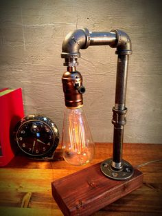 Vintage Water Table Lamp Edison Light Bulb Retro Iron Pipe