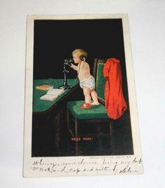 "1908 Antique Postcard ""Hello Papa"" Baby Boy Telephone Ullman Lock Haven PA UB"