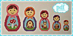 Woodland Matryoshka Set cross stitch needlepoint by cupcakecutie1, $7.00