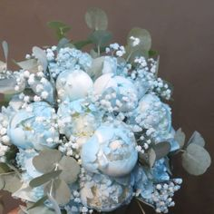 Blue Peonies, Baby's Breath, Thessaloniki, Bridal Bouquets, Powder, Wreaths, Instagram, Design, Bride Bouquets