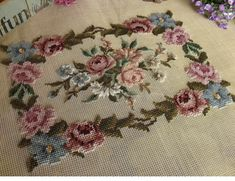 This list is for a SWEET PREWORKED needlepoint creation. Simple Cross Stitch, Cross Stitch Rose, Cross Stitch Flowers, Beaded Embroidery, Cross Stitch Embroidery, Embroidery Patterns, Hand Embroidery, Bed Quilt Patterns, Canvas Patterns