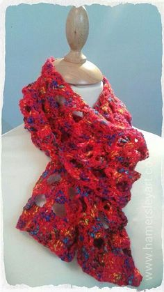 Rich warm red lacey Crochet scarf 100% Acrylic easy to ware easy to wash www.hamersleyart.com