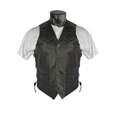 Save $ 40.04 order now Men's Braided Leather Motorcycle Vests with Side La
