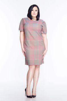 Luźna sukienka w kratę SL2168 SP www.fajne-sukienki.pl Spin, High Neck Dress, Dresses, Fashion, Turtleneck Dress, Vestidos, Moda, Fashion Styles, Dress