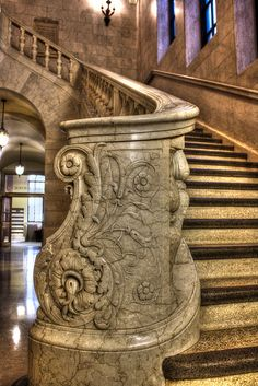 The Cleveland Public Library, 1925 Walker & Weeks, architects (photo by The Cleveland Kid) Bar Lounge, Art And Architecture, Architecture Details, Cleveland Ohio, Cleveland Rocks, Stairway To Heaven, Grand Staircase, Museum, Best Location