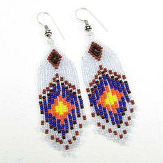Blue White Fire Pattern Beaded Sun Beadwork Earrings Wholesale Price E16/29
