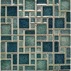 Crackle Glass Mosaic Wall Tile Blue Glass Wall Tiles Ice Cracked Glossy Crystal