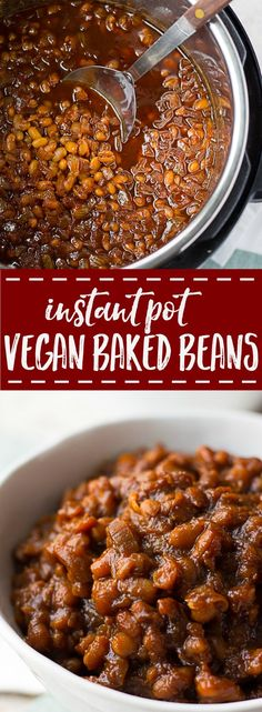 Vegan Baked Beans made in the Instant Pot from scratch! The perfect combination of savory, sweet and smoky. Easy recipe. via @noracooks